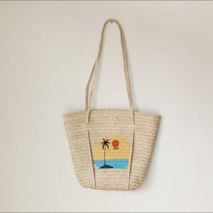 Handbags - Straw beach tote with long straps